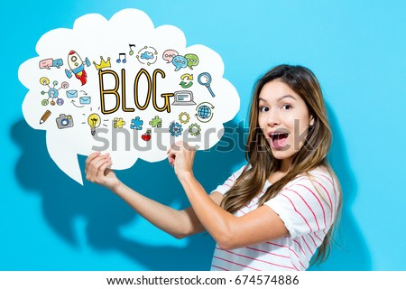 Blog text with young woman holding a speech bubble on a blue background