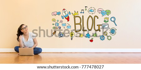 Blog text with young woman using a laptop computer on floor