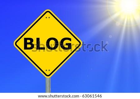 blog traffic sign showing internet or communication concept