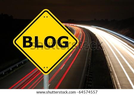 blog traffic sign showing internet or communication concept #64574557