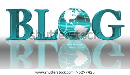 blog word and blue earth globe with clipping path
