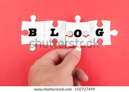 Blog word composed of jigsaw puzzle pieces group