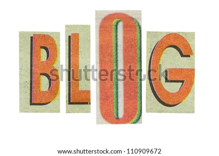 Blog word, paper cut letters (has other words in this set)