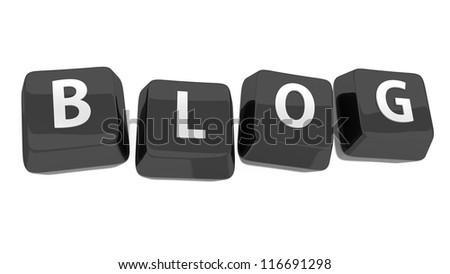 BLOG written in white on black computer keys. 3d illustration. Isolated background.