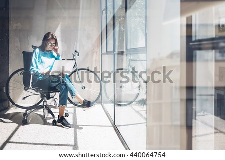 Blogger Hipster use Notebook Agency Loft Studio.Student Researching Process Home.Young Woman Working Business Startup modern Office.Analyze new creative market strategy.Blurred,film effect.Horizontal