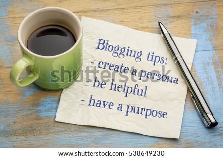 Blogging tips - handwriting on a napkin with a cup of espresso coffee