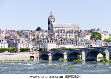 Blois city with the Cathedral of Saint-Louis in background from the Loire, France