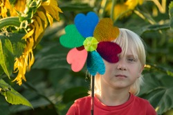 Blond boy walks in sunflower field and holds windmill toy in his hands.