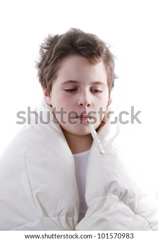 blond child sick with fever, with digital thermometer