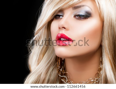 Blond Fashion Woman Portrait. Blonde Hair. Hairstyle