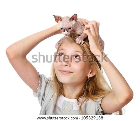 Blond girl and little sphynx cat. isolated on white background