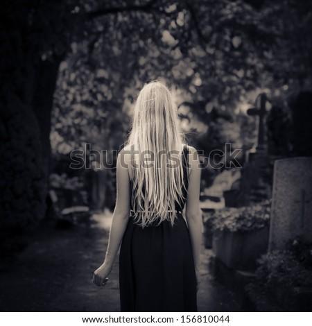 Blonde bitch is alone in the dark