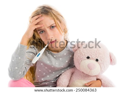 blond girl with thermometer and flu cold in pajama  grumpy face with teddy bear