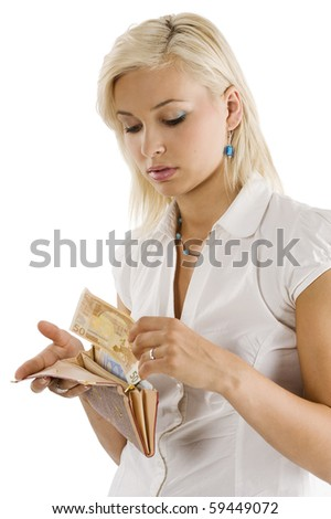 blond graceful model bringing some euro cash from her wallet