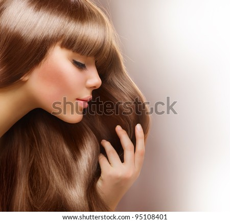 Blond Hair.Beautiful Woman with Healthy Straight Long Hair - stock photo