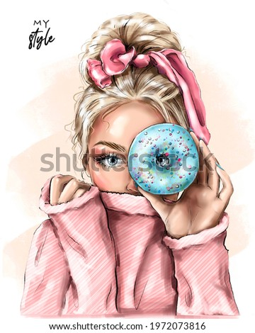 Blond hair girl holding doughnut near her eye. Fashion girl with beautiful hairstyle. Pretty young woman. Fashion illustration.