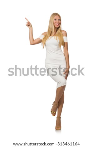 Blond hair woman in elegant dress isolated on white #313461164
