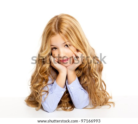 blond kid little student girl portrait smiling on a desk in white background