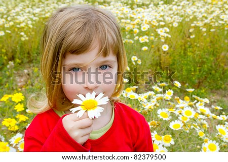 blond little girl smelling a daisy spring flower in meadow field