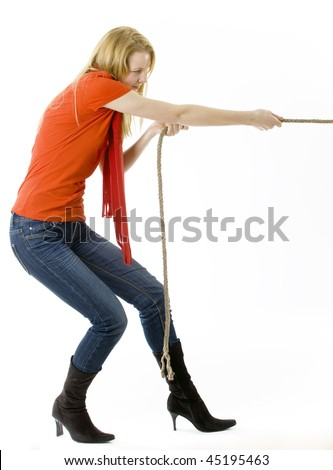 blond, long hair, young woman pulling grey rope, tug-of-war
