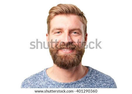 blond man. happy expression