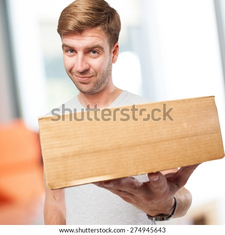 blond man with a box