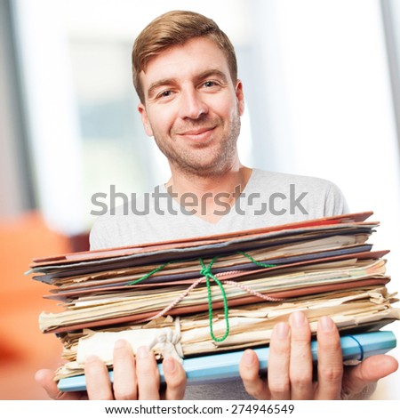 blond man with archives