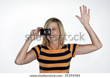 Blond Model Holding A Point And Shoot Camera Stock Photo 39394984