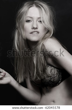 stock photo : blond sexy women in bra smoking