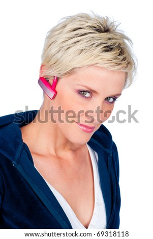 blond short hair woman with headphones