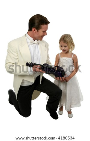 Blond six year old girl gets a new purple violin from man in tuxedo