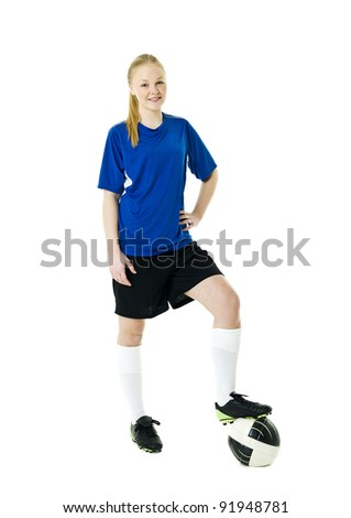 Blond soccer woman isolated on white background