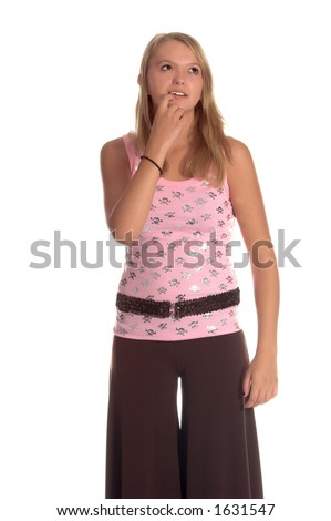 Blond teenage girl in a pink tank top with a pirates skull and cross bones on it and Brown Gaucho pants wonders what the future holds for her
