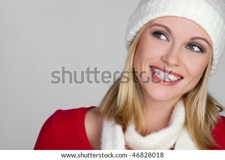 Blond Winter Girl - stock photo