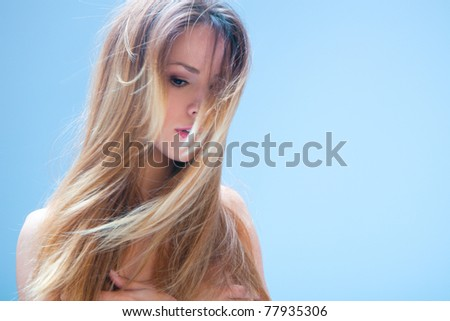 blond woman beauty and hair portrait, studio shot