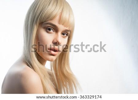 Stock Photo Blond woman close-up