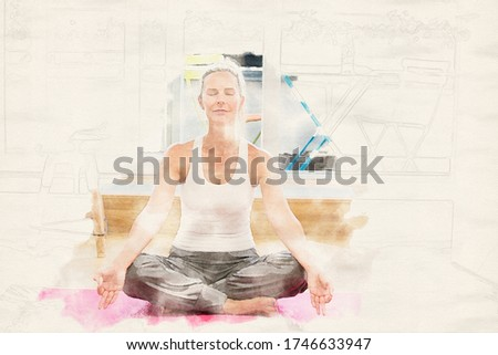 blond woman doing yoga in her living room in watercolors