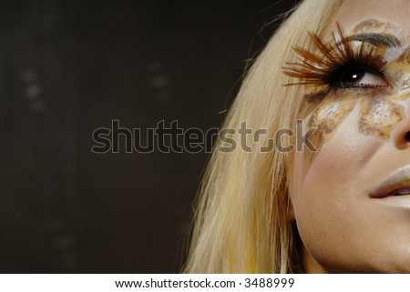 Blond woman in beautiful make up
