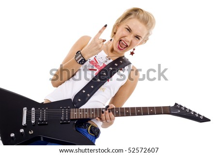 blond woman playing the electric guitar with passion and making a rock and roll hand gesture