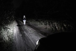 Blond woman staying on the wooded road in the headlights of a car