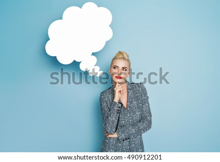 Blond woman thinking and looking up to blank bubble speech