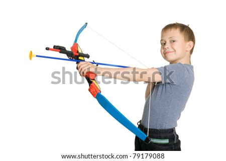 Blonde boy shooting a bow for kids. Isolated on white.