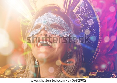 Blonde Brazilian woman wearing carnival costume #570692902