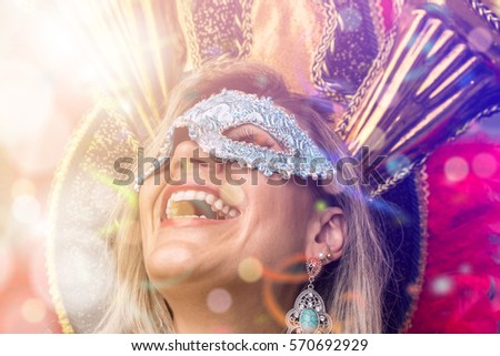 Blonde Brazilian woman wearing carnival costume #570692929