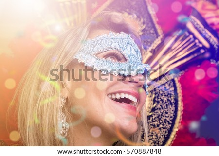 Blonde Brazilian woman wearing carnival costume #570887848