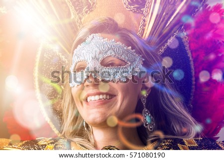 Blonde Brazilian woman wearing carnival costume #571080190