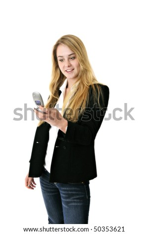 blonde business woman or student texting with cell phone