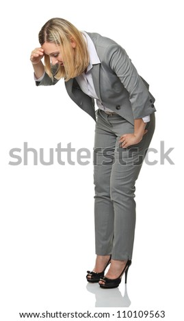 blonde businesswoman look down isolated on white