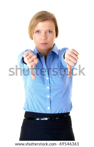 blonde businesswoman shows thumb down gesture, foreground focus, isolated on white