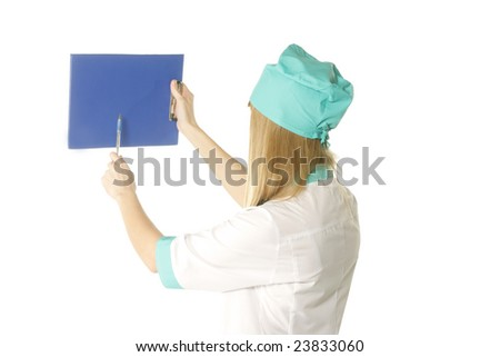 Blonde doctor pointing to empty folder over white background - stock photo
